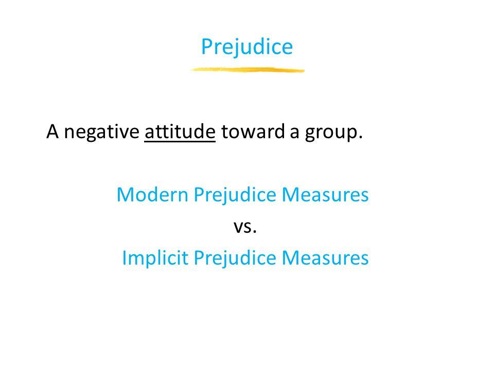Prejudice A negative attitude toward a group. Modern Prejudice Measures vs.