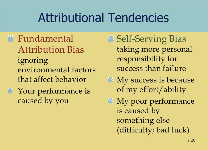 Attributional Tendencies Fundamental Attribution Bias ignoring environmental factors that affect behavior Your performance is caused by you Self-Servi