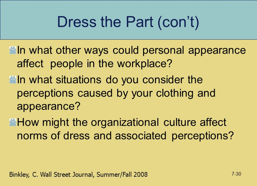 Dress the Part (con't) In what other ways could personal appearance affect people in the workplace? In what situations do you consider the perceptions