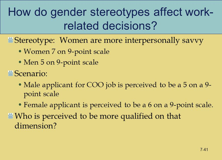 How do gender stereotypes affect work- related decisions.