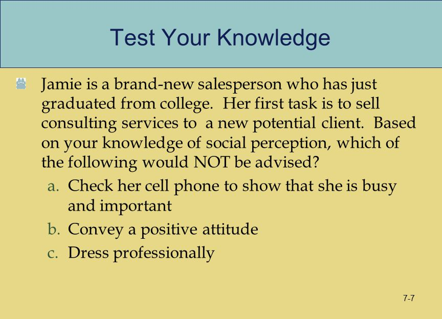 Test Your Knowledge Jamie is a brand-new salesperson who has just graduated from college. Her first task is to sell consulting services to a new poten
