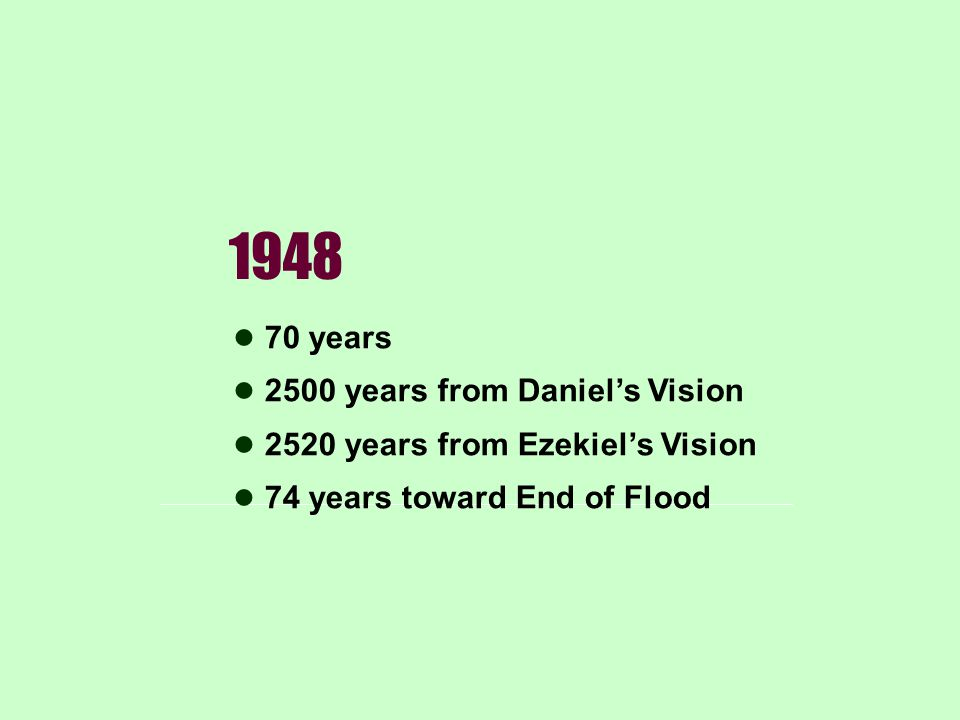 1948 70 years 2500 years from Daniel's Vision 2520 years from Ezekiel's Vision 74 years toward End of Flood