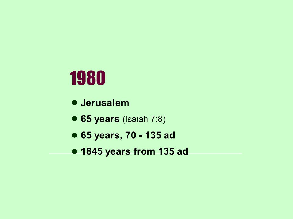 1980 Jerusalem 65 years (Isaiah 7:8) 65 years, 70 - 135 ad 1845 years from 135 ad