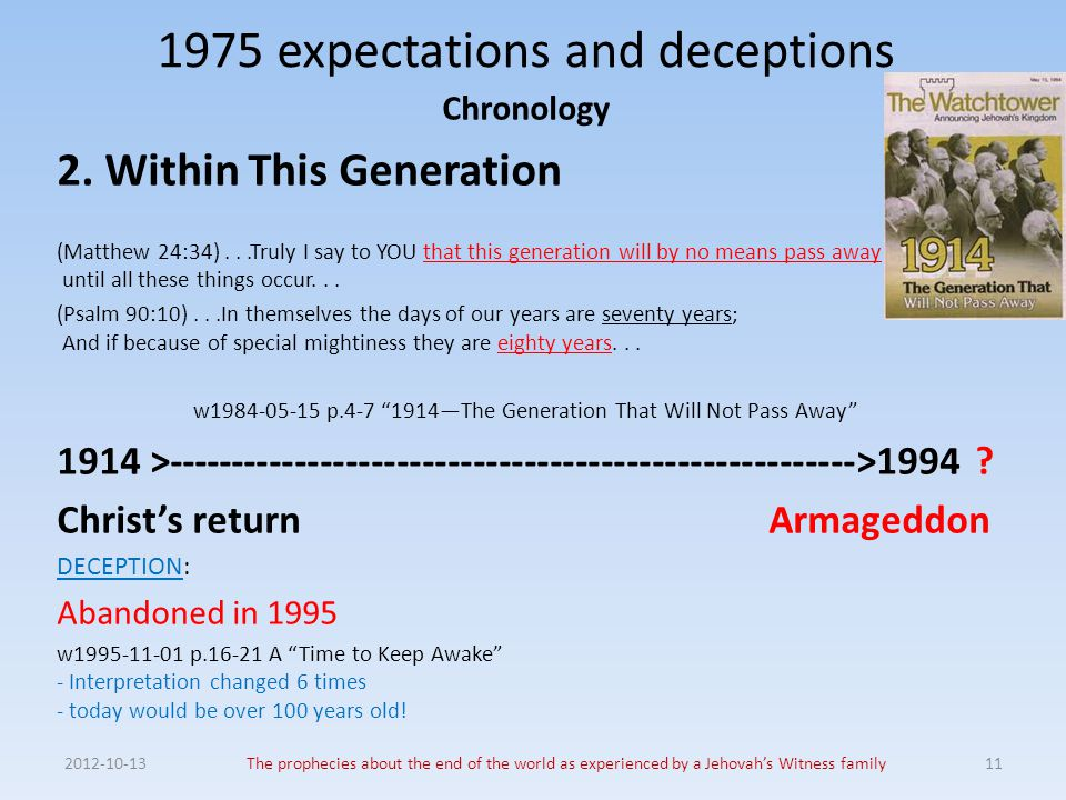 2012-10-13The prophecies about the end of the world as experienced by a Jehovah's Witness family11 1975 expectations and deceptions Chronology 2. With