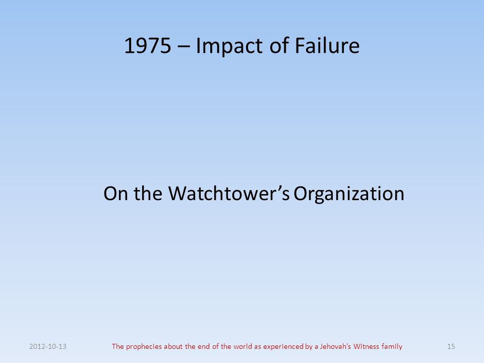 1975 – Impact of Failure On the Watchtower's Organization 2012-10-13The prophecies about the end of the world as experienced by a Jehovah's Witness fa