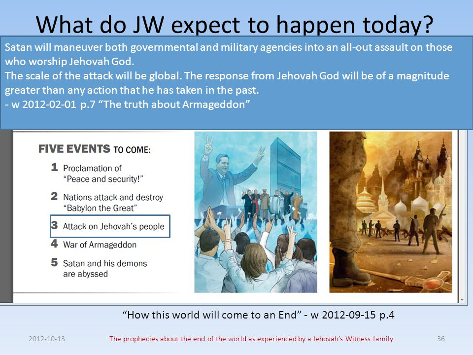 What do JW expect to happen today? 2012-10-13The prophecies about the end of the world as experienced by a Jehovah's Witness family36 Satan will maneu