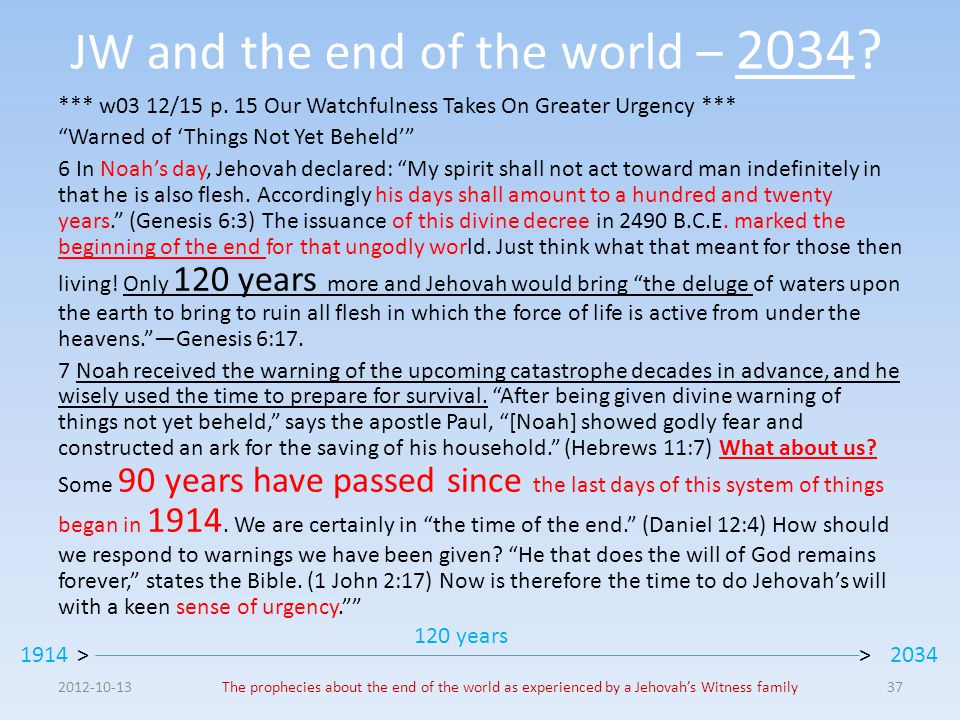 "JW and the end of the world – 2034? *** w03 12/15 p. 15 Our Watchfulness Takes On Greater Urgency *** ""Warned of 'Things Not Yet Beheld'"" 6 In Noah's"