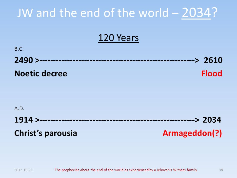 JW and the end of the world – 2034? 120 Years B.C. 2490 >------------------------------------------------------->2610 Noetic decree Flood A.D. 1914 >-