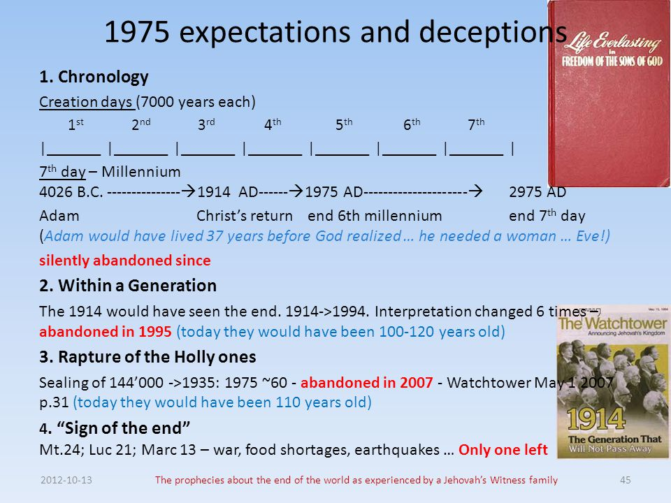 2012-10-13The prophecies about the end of the world as experienced by a Jehovah's Witness family45 1975 expectations and deceptions 1. Chronology Crea