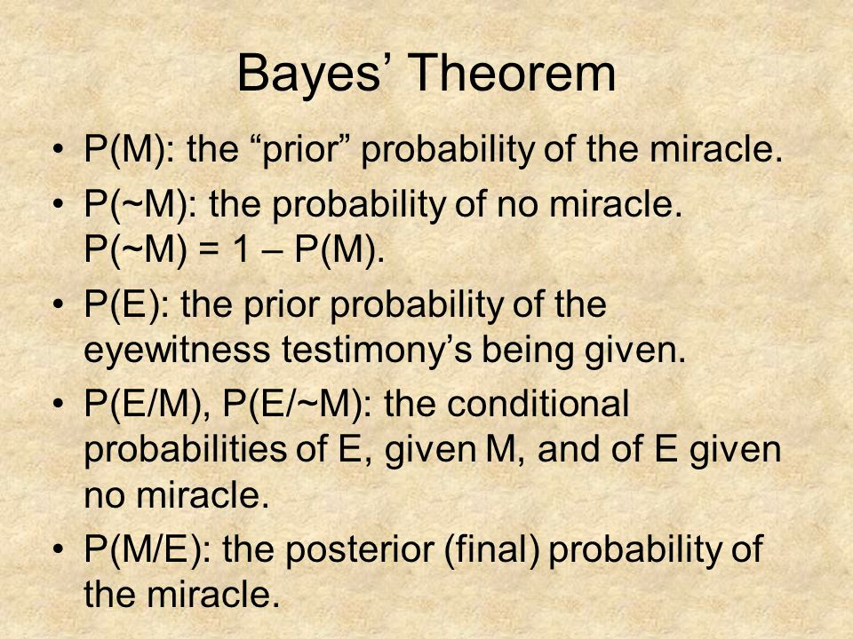 Bayes' Theorem P(M): the prior probability of the miracle.