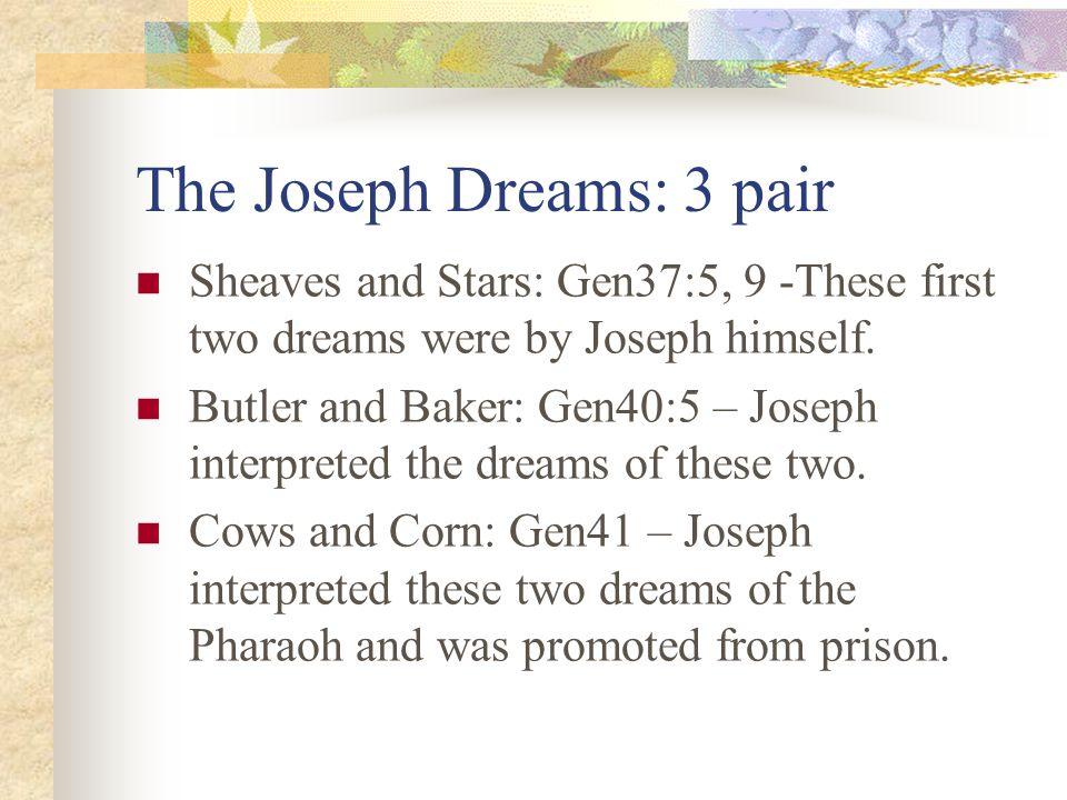 Dreams in the Book of Genesis Genesis tells of six dreams and their interpretation. Joseph spoke for God unlike anyone before him. Joseph was the 4 th