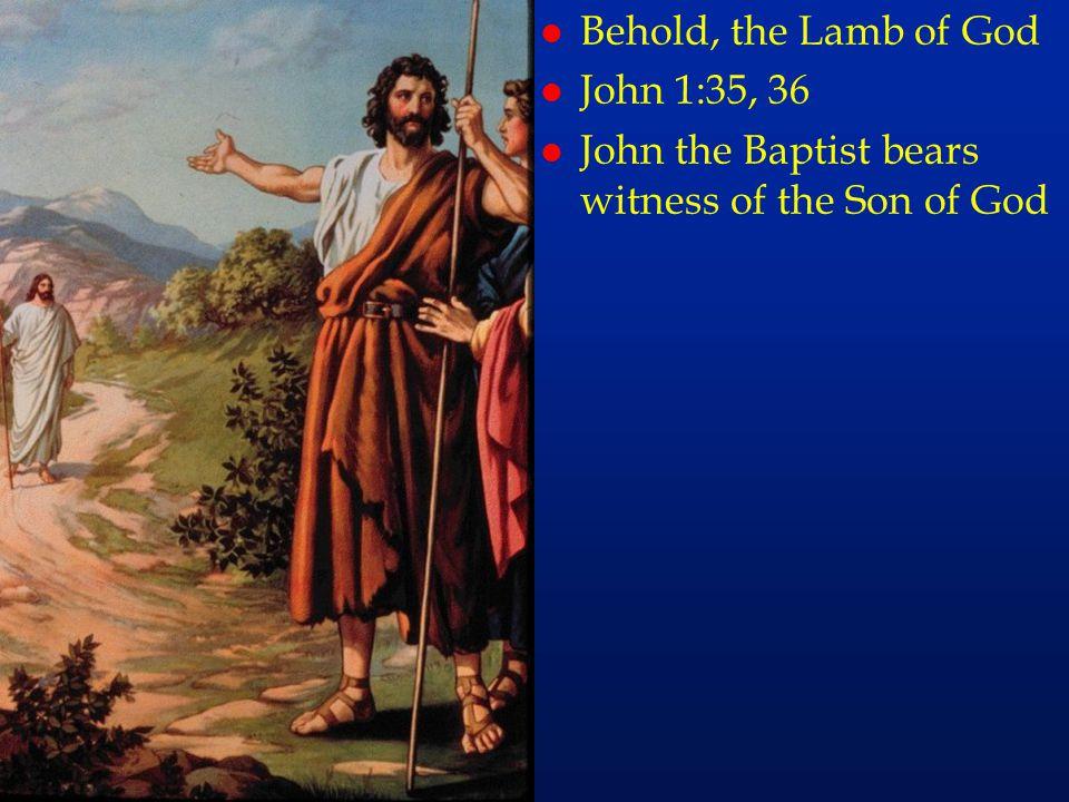 l Behold, the Lamb of God l John 1:35, 36 l John the Baptist bears witness of the Son of God