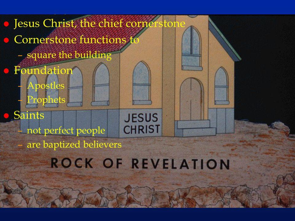 cc38 l Jesus Christ, the chief cornerstone l Cornerstone functions to –square the building l Foundation –Apostles –Prophets l Saints –not perfect peop