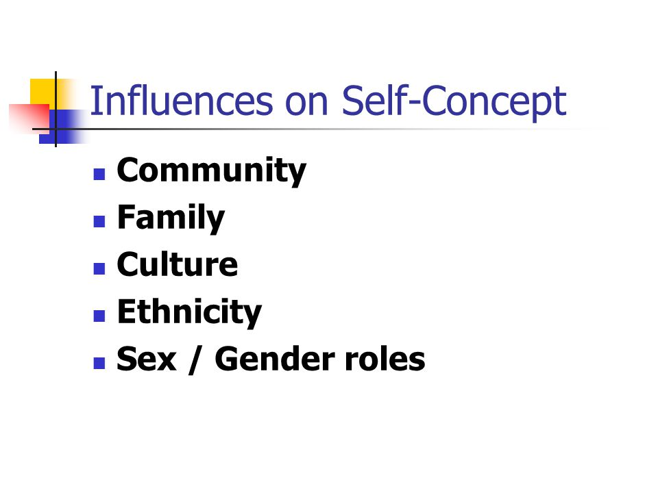 Influences on Self-Concept Community Family Culture Ethnicity Sex / Gender roles