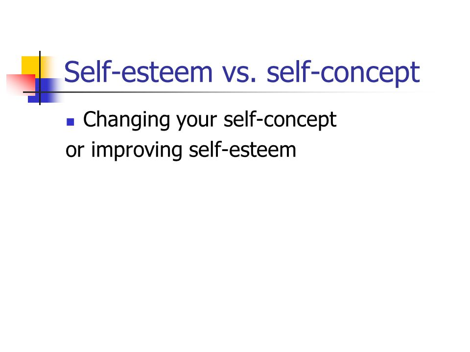 Self-esteem vs. self-concept Changing your self-concept or improving self-esteem