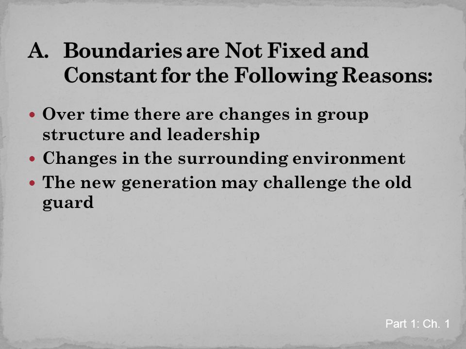 Over time there are changes in group structure and leadership Changes in the surrounding environment The new generation may challenge the old guard Part 1: Ch.