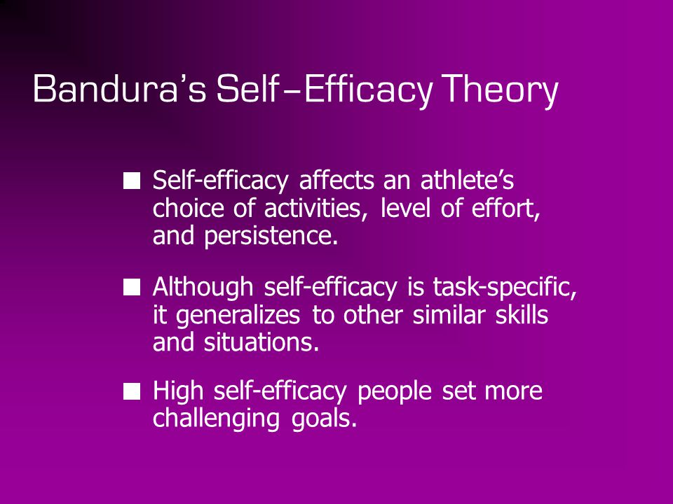 Bandura's Self–Efficacy Theory Self-efficacy affects an athlete's choice of activities, level of effort, and persistence. Although self-efficacy is ta
