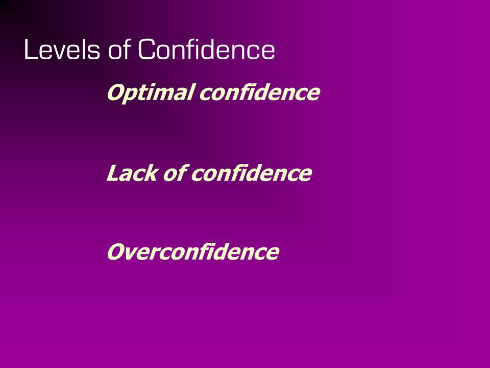 Levels of Confidence Optimal confidence Lack of confidence Overconfidence