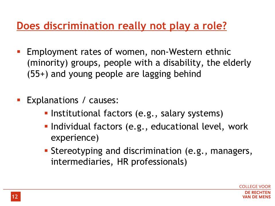 12 Does discrimination really not play a role.