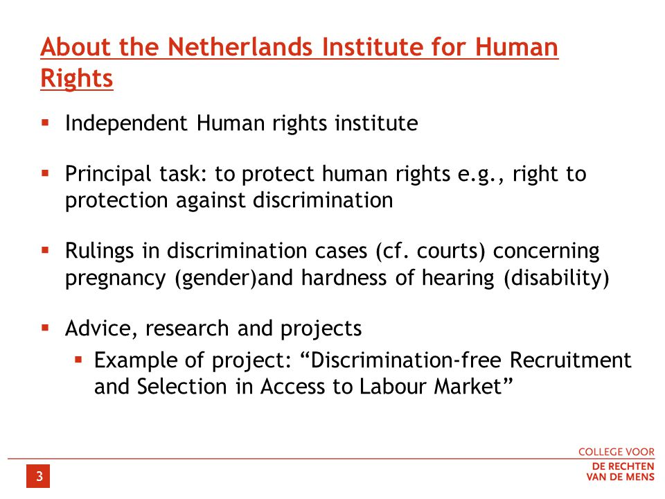 3 About the Netherlands Institute for Human Rights  Independent Human rights institute  Principal task: to protect human rights e.g., right to protection against discrimination  Rulings in discrimination cases (cf.