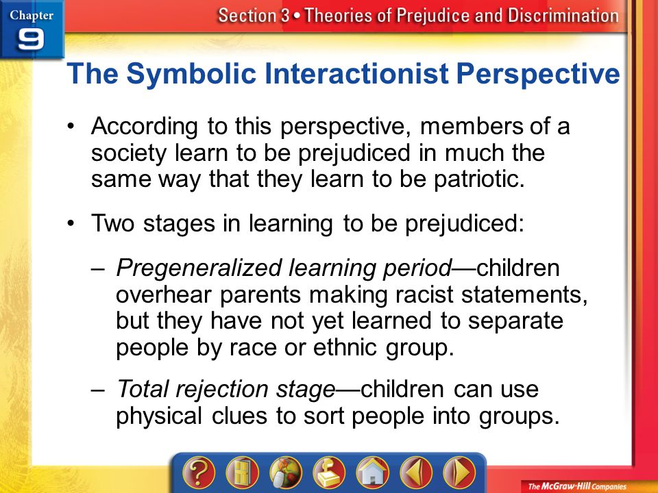 Section 3 The Symbolic Interactionist Perspective According to this perspective, members of a society learn to be prejudiced in much the same way that they learn to be patriotic.