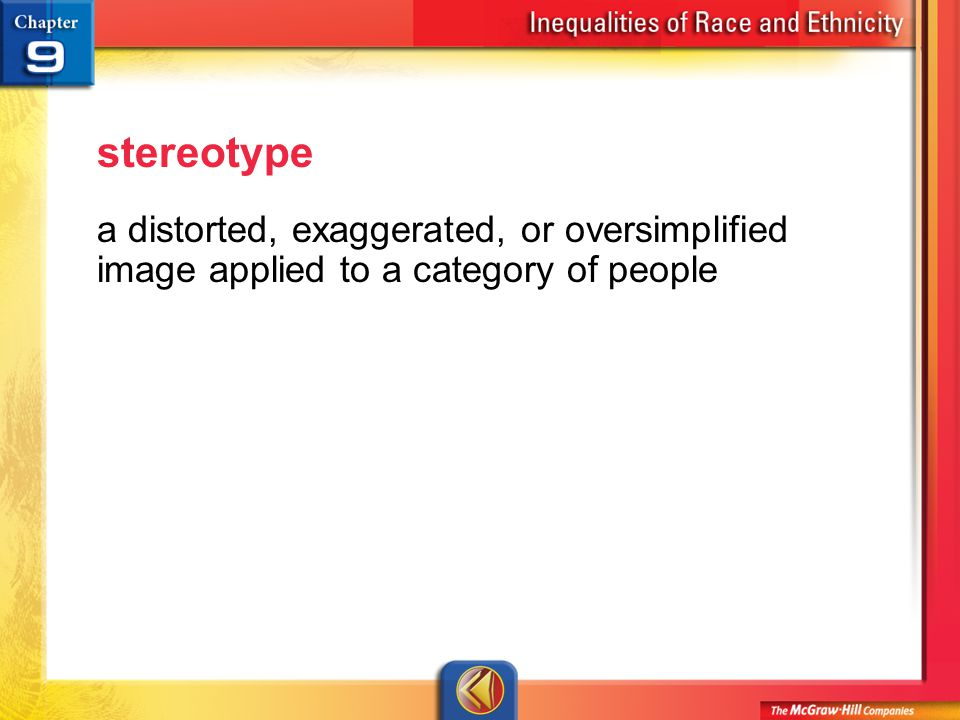 Vocab 14 stereotype a distorted, exaggerated, or oversimplified image applied to a category of people