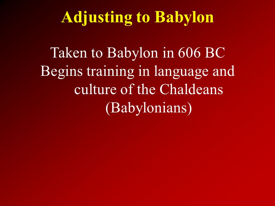 Adjusting to Babylon Taken to Babylon in 606 BC Begins training in language and culture of the Chaldeans (Babylonians)