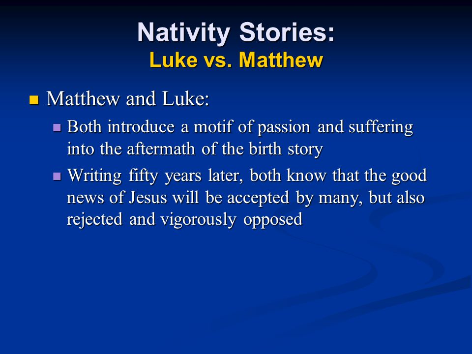 Nativity Stories: Luke vs.
