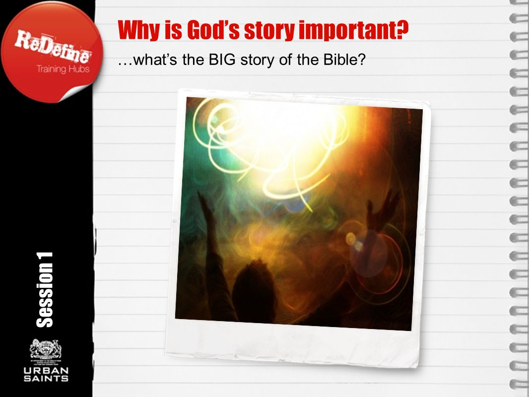 Why is God's story important Rotation angle 350 o Session 1 …what's the BIG story of the Bible