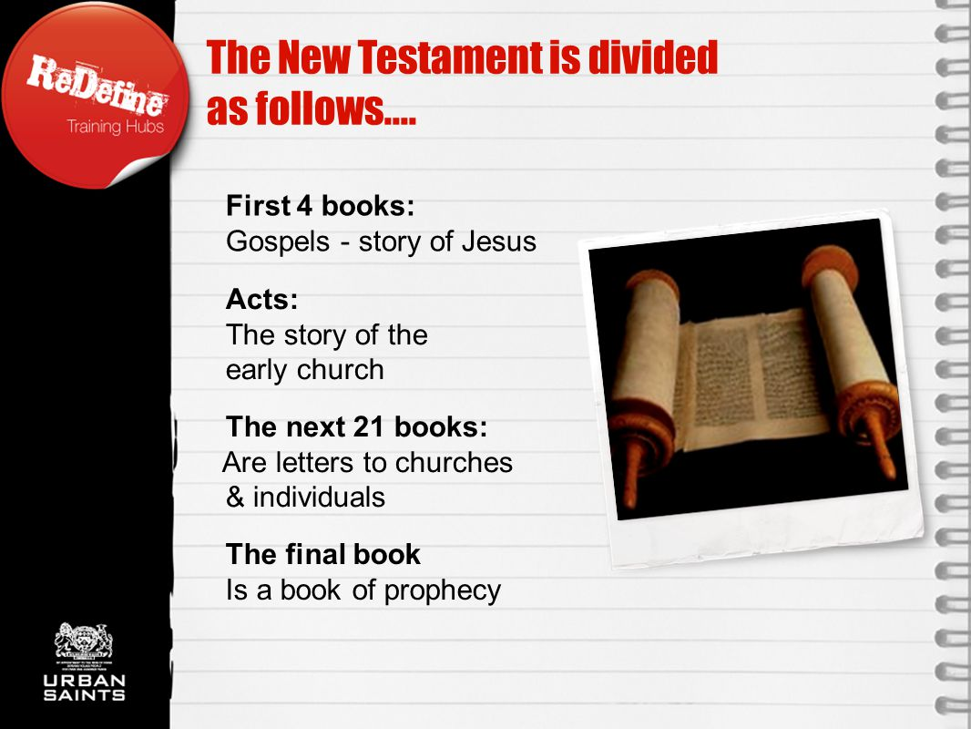 The final book Is a book of prophecy The New Testament is divided as follows....