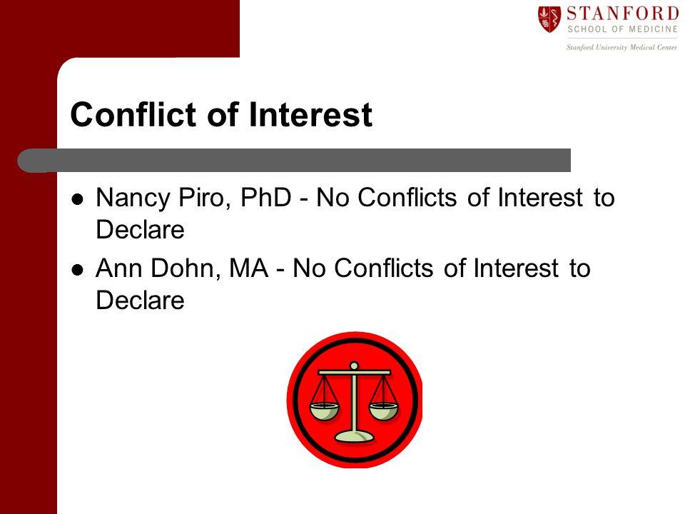 Conflict of Interest Nancy Piro, PhD - No Conflicts of Interest to Declare Ann Dohn, MA - No Conflicts of Interest to Declare