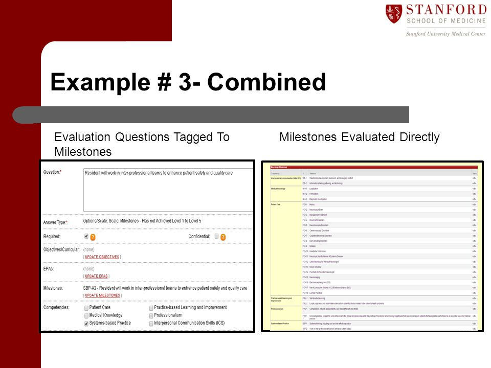 Example # 3- Combined Evaluation Questions Tagged To Milestones Milestones Evaluated Directly