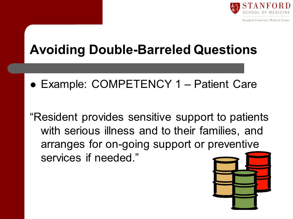 """Avoiding Double-Barreled Questions Example: COMPETENCY 1 – Patient Care """"Resident provides sensitive support to patients with serious illness and to t"""