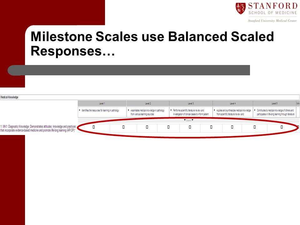Milestone Scales use Balanced Scaled Responses…