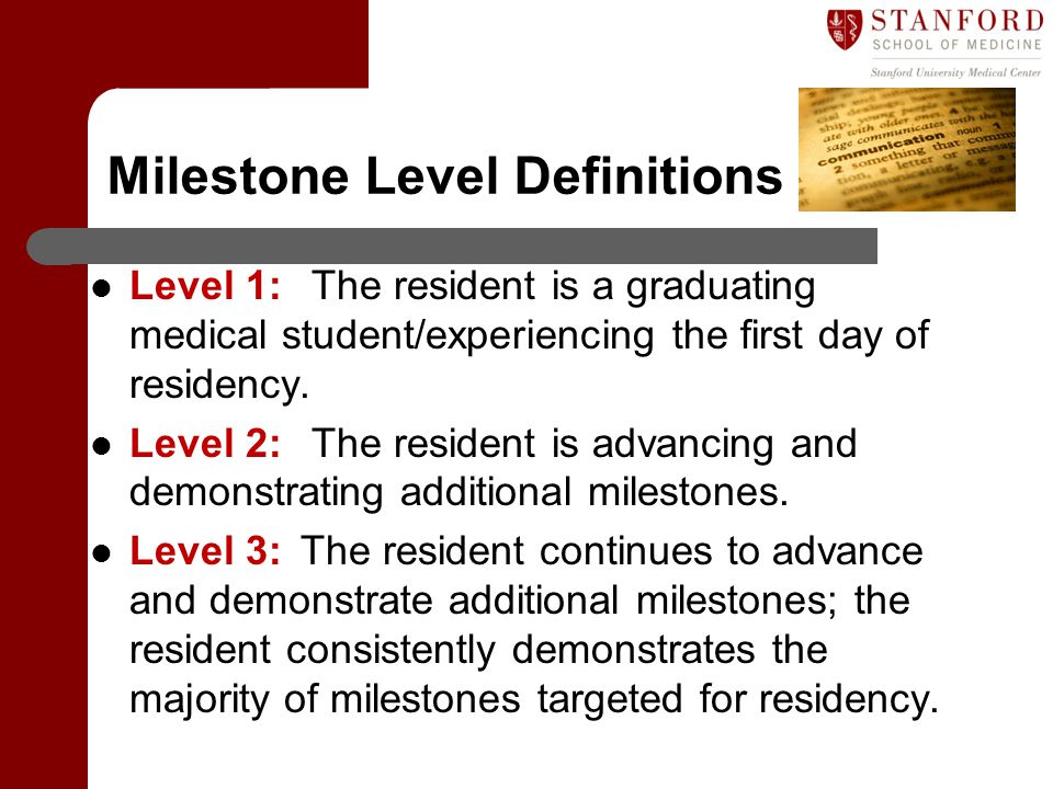 Milestone Level Definitions Level 1: The resident is a graduating medical student/experiencing the first day of residency. Level 2: The resident is ad