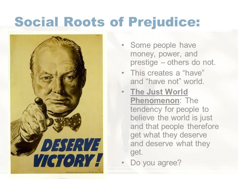 Social Roots of Prejudice: Some people have money, power, and prestige – others do not.