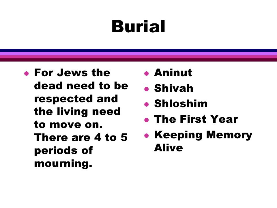 Burial l For Jews the dead need to be respected and the living need to move on.
