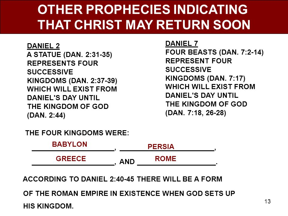 13 OTHER PROPHECIES INDICATING THAT CHRIST MAY RETURN SOON DANIEL 2 A STATUE (DAN.
