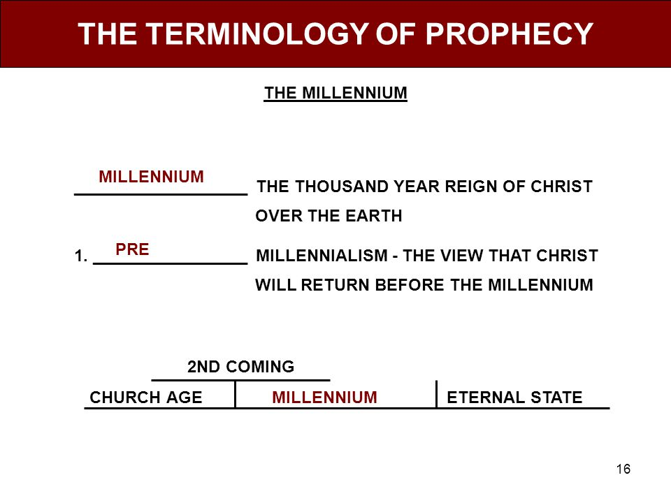16 THE TERMINOLOGY OF PROPHECY ___________________ THE THOUSAND YEAR REIGN OF CHRIST OVER THE EARTH 1.