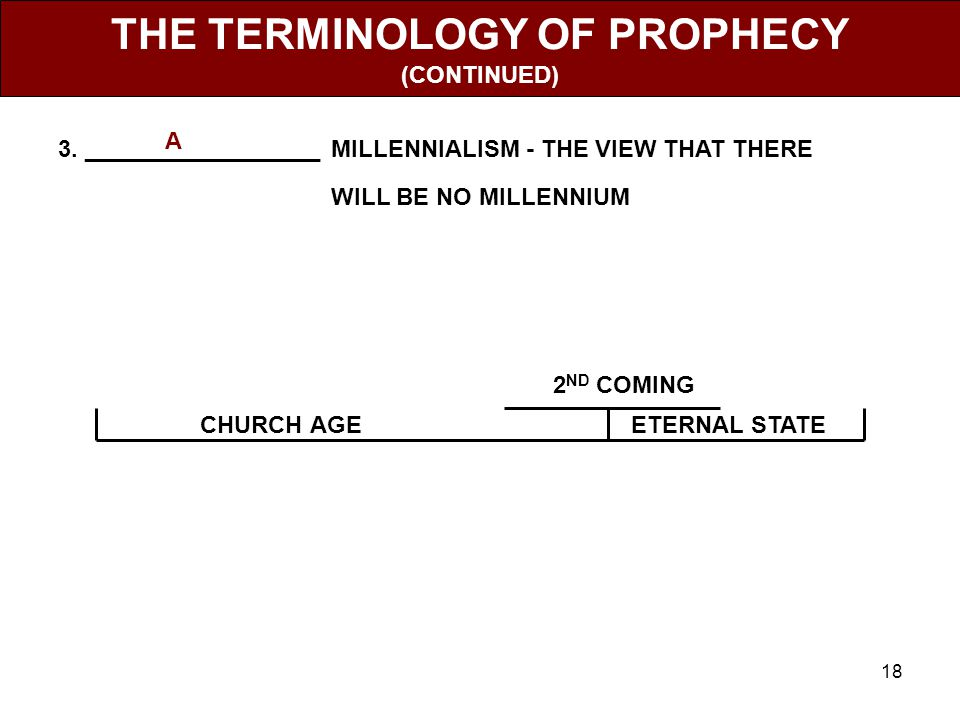 18 THE TERMINOLOGY OF PROPHECY (CONTINUED) 3.