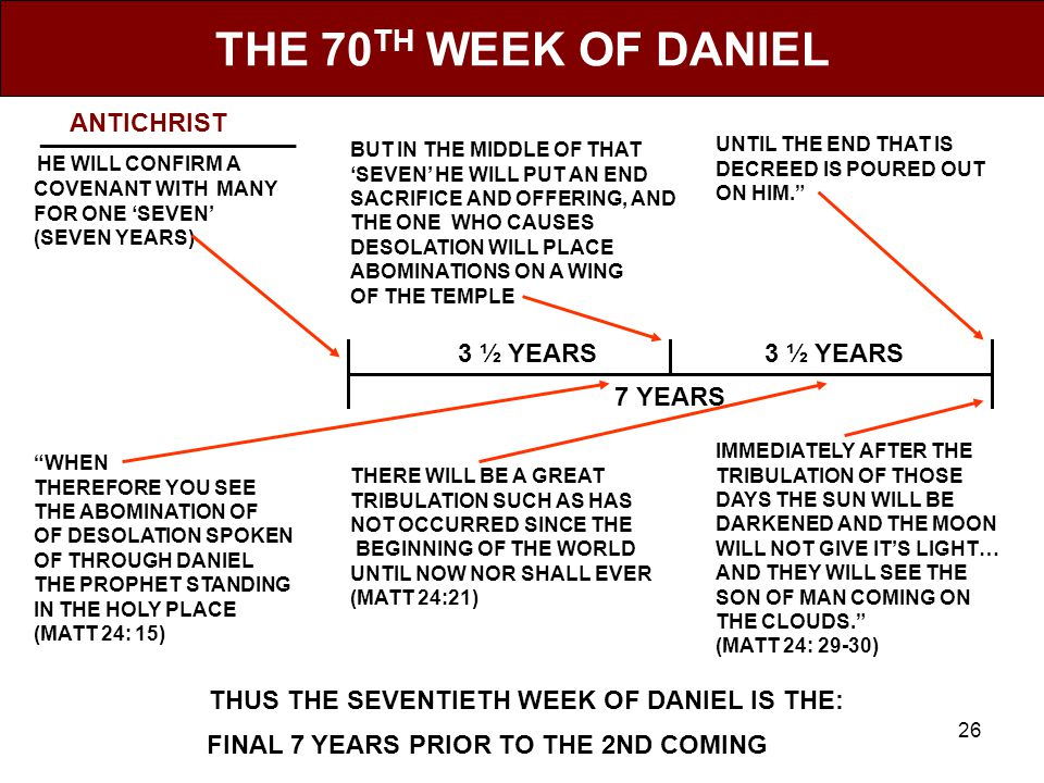 26 THE 70 TH WEEK OF DANIEL __________________ HE WILL CONFIRM A COVENANT WITH MANY FOR ONE 'SEVEN' (SEVEN YEARS) BUT IN THE MIDDLE OF THAT 'SEVEN' HE WILL PUT AN END SACRIFICE AND OFFERING, AND THE ONE WHO CAUSES DESOLATION WILL PLACE ABOMINATIONS ON A WING OF THE TEMPLE UNTIL THE END THAT IS DECREED IS POURED OUT ON HIM. WHEN THEREFORE YOU SEE THE ABOMINATION OF OF DESOLATION SPOKEN OF THROUGH DANIEL THE PROPHET STANDING IN THE HOLY PLACE (MATT 24: 15) THERE WILL BE A GREAT TRIBULATION SUCH AS HAS NOT OCCURRED SINCE THE BEGINNING OF THE WORLD UNTIL NOW NOR SHALL EVER (MATT 24:21) IMMEDIATELY AFTER THE TRIBULATION OF THOSE DAYS THE SUN WILL BE DARKENED AND THE MOON WILL NOT GIVE IT'S LIGHT… AND THEY WILL SEE THE SON OF MAN COMING ON THE CLOUDS. (MATT 24: 29-30) THUS THE SEVENTIETH WEEK OF DANIEL IS THE: ___________________________________________________.