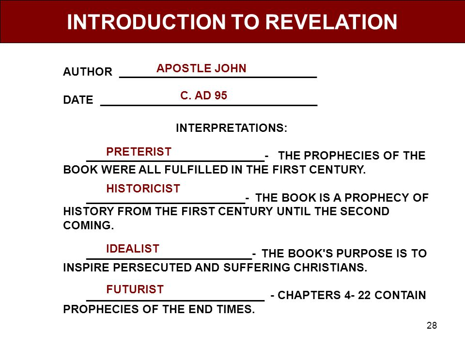 28 INTRODUCTION TO REVELATION AUTHOR _______________________________ DATE __________________________________ INTERPRETATIONS: ____________________________- THE PROPHECIES OF THE BOOK WERE ALL FULFILLED IN THE FIRST CENTURY.