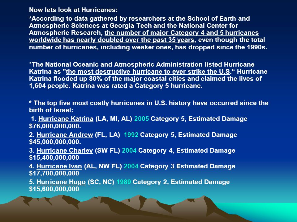 Now lets look at Hurricanes: *According to data gathered by researchers at the School of Earth and Atmospheric Sciences at Georgia Tech and the Nation
