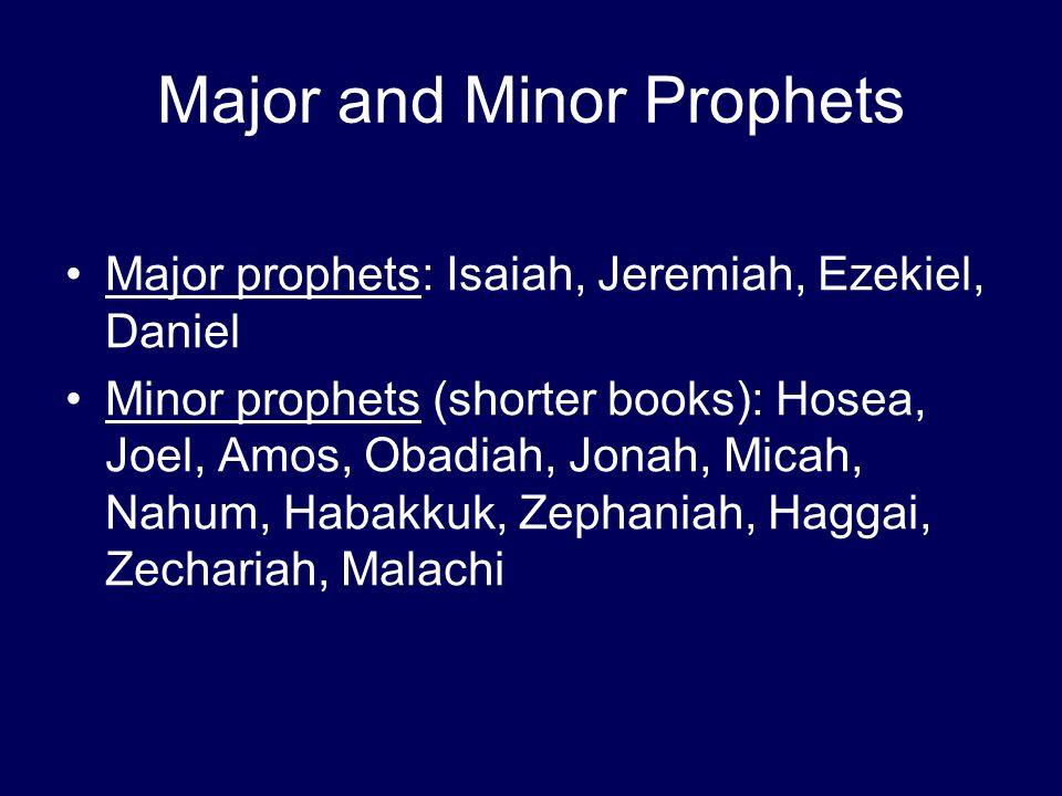 Major and Minor Prophets Major prophets: Isaiah, Jeremiah, Ezekiel, Daniel Minor prophets (shorter books): Hosea, Joel, Amos, Obadiah, Jonah, Micah, Nahum, Habakkuk, Zephaniah, Haggai, Zechariah, Malachi