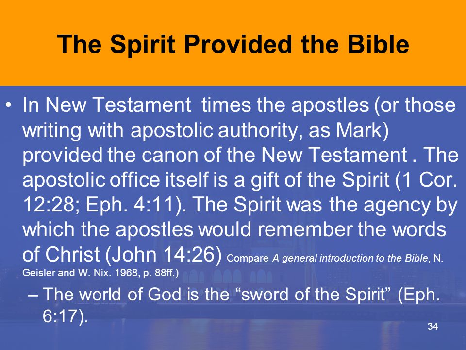 The Spirit Provided the Bible In New Testament times the apostles (or those writing with apostolic authority, as Mark) provided the canon of the New Testament.