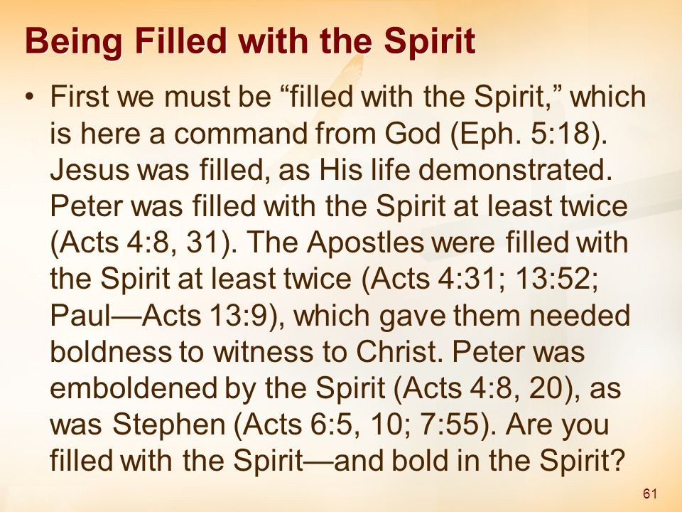 Being Filled with the Spirit First we must be filled with the Spirit, which is here a command from God (Eph.