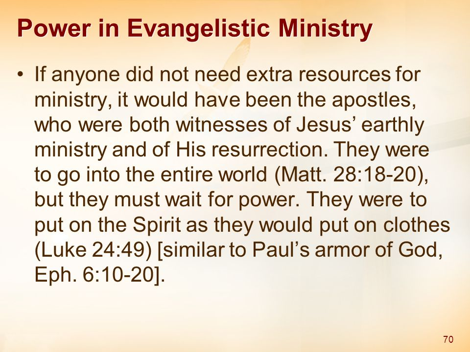 Power in Evangelistic Ministry If anyone did not need extra resources for ministry, it would have been the apostles, who were both witnesses of Jesus'