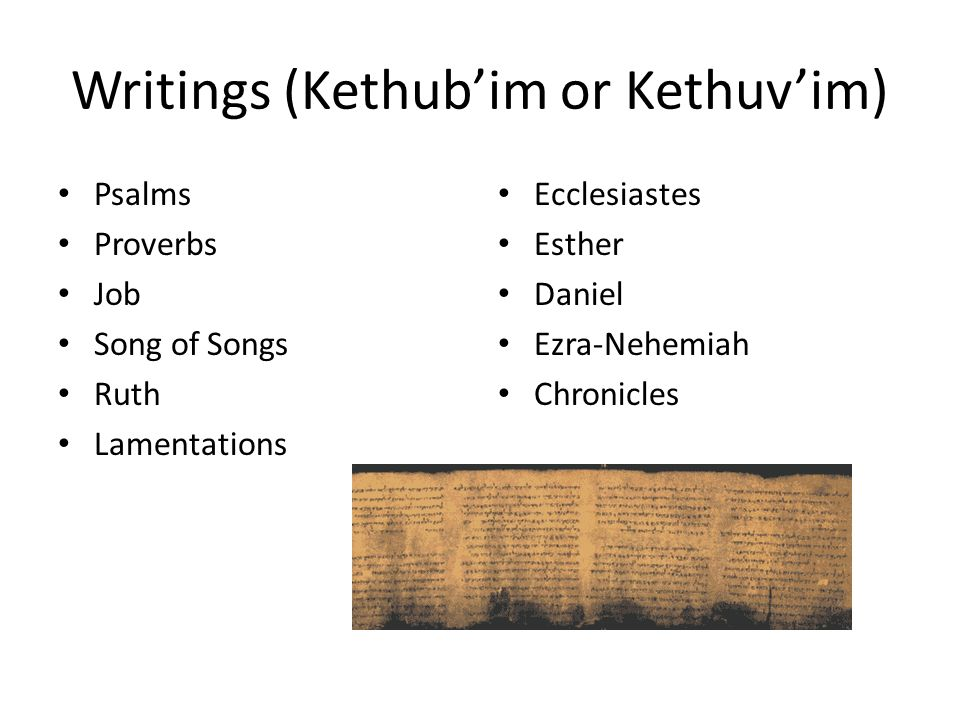 Writings (Kethub'im or Kethuv'im) Psalms Proverbs Job Song of Songs Ruth Lamentations Ecclesiastes Esther Daniel Ezra-Nehemiah Chronicles