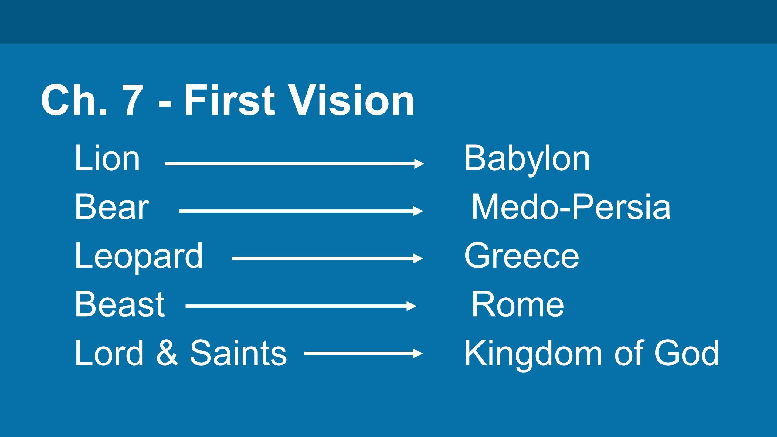 Ch. 7 - First Vision Lion Babylon Bear Medo-Persia Leopard Greece Beast Rome Lord & Saints Kingdom of God