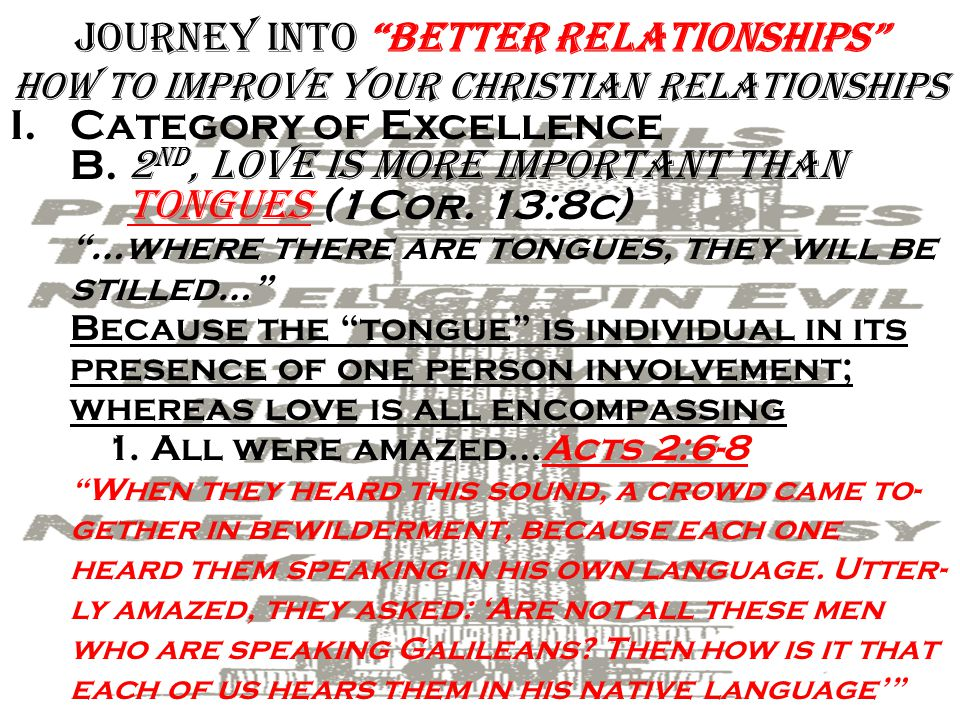 Journey into Better Relationships how To improve Your Christian Relationships I.Category of Excellence A.